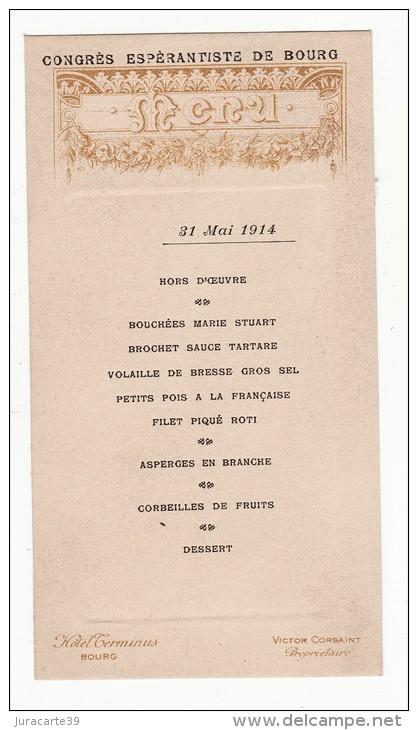 menu congès espérantiste de Bourg 1914