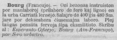 Offre emploi Bourg - Esperanto 15 avril 1908