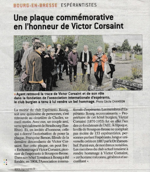 Article Le Progrès 17 septembre 2017 - ceremonio Corsaint - b